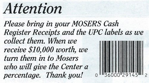 Moser receipts